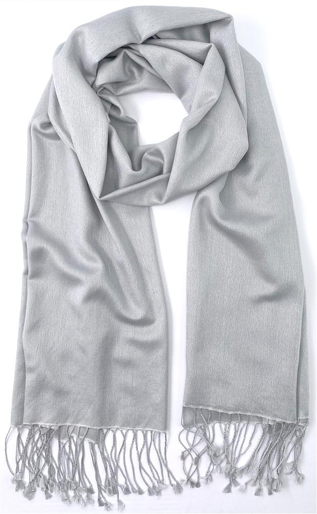 Pashmina Silk Shawl Silver Grey