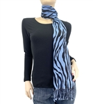 Blue Zebra Animal Print Pashmina