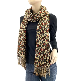 Leopard Red Dot Animal Print Pashmina