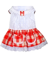 gingham country dress red
