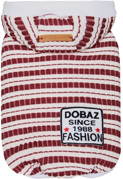 Striped Knit Hoodie Red-White