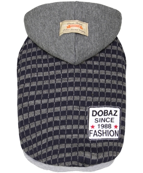 Striped Knit Hoodie Gray-Navy