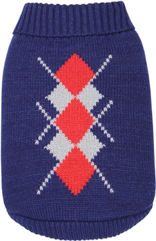 Argyle Sweater Navy-Red