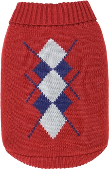 Argyle Sweater Red-Navy