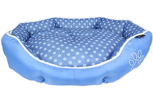 polka dot blue bed