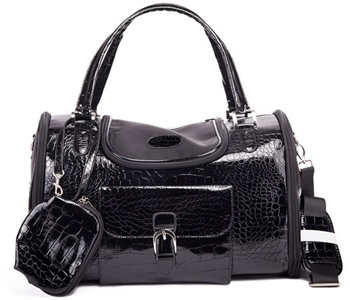 parisian pet croc carrier black