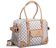 parisian pet white checkered carrier