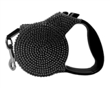 crystal rectractable black leash