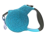 crystal rectractable blue leash