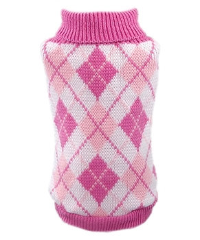 argyle pink sweater