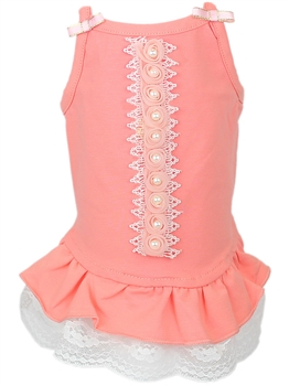 roses pearls dress peach