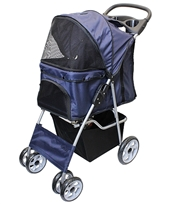 dark blue pet stroller