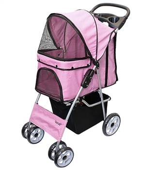 light pink pet stroller
