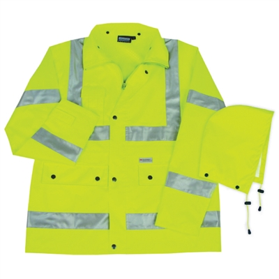 Rain Coat with Reflective Tape (Class 3) - Medium