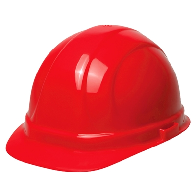 Hard Hat - 6-Point Suspension with Ratchet - Red