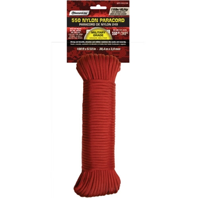 Nylon 550 Paracord - Red - 100'