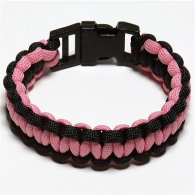 550 Paracord Survival Bracelet - Black/Pink Medium