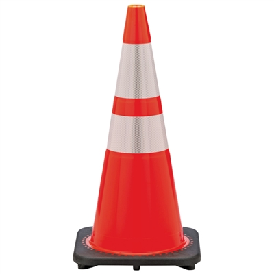 Orange Traffic Cone with Reflective Stripes - 28""