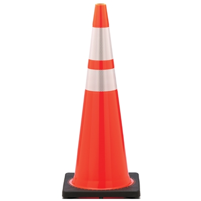 "Orange Traffic Cone 36"" with Reflective Stripes"
