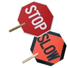 Stop / Slow Sign with Wood Handle
