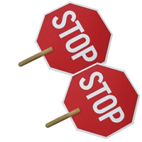 Stop / Stop Sign with Wood Handle