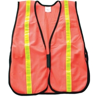 Fine Mesh Safety Vest with Stripes - Hi-Vis Orange