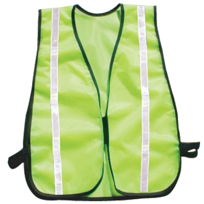 Fine Mesh Safety Vest with Stripes - Hi-Vis Lime
