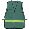 Mesh Safety Vest with Stripe - Dark Green