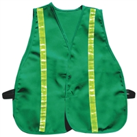 Cloth Safety Vest - Green with Vertical Stripes