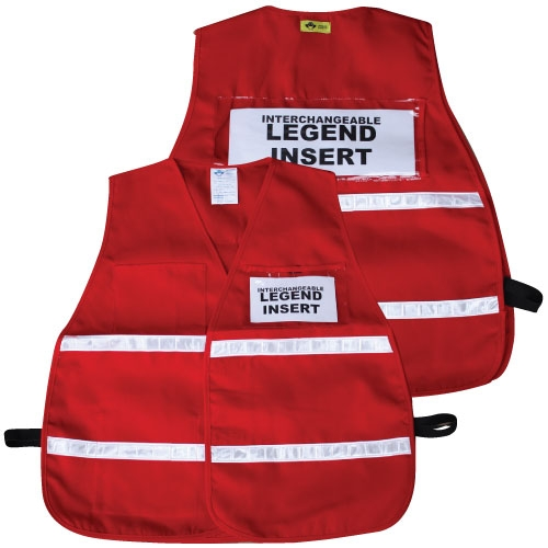 Deluxe Ics Red Cloth Safety Vest W Reflective Stripes