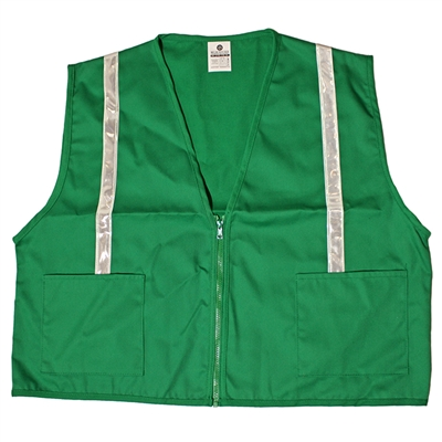 Green Cloth Fitted Vest with Stripes - XL