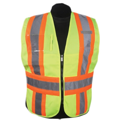ICS Deluxe Vest with Stripes Hi-Visibility Lime