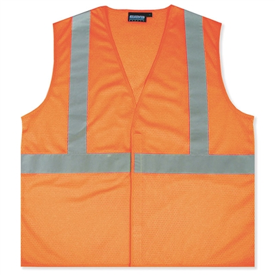 Class 2 Economy Mesh Safety Vest - Hi-Vis Orange