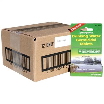 Water Purification Tablets - 12 Bottles per Case