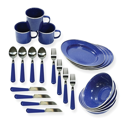 Deluxe 24-Piece Enamel Tableware Set