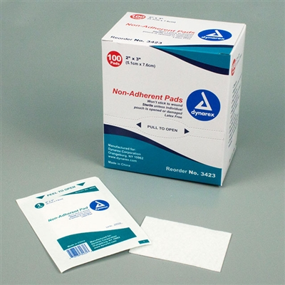 "Non-Adherent Pads, Sterile - 2"" X 3"" - 100-Pack"