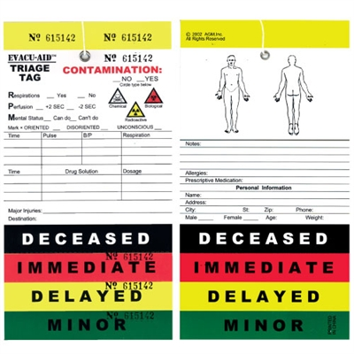 50 Pack Color Coded Mass Casualty Triage Priority Tags