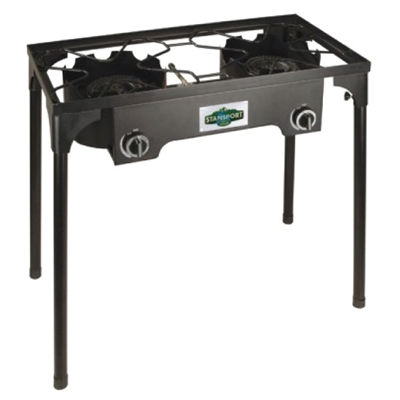 2-Burner Base Camp Stove with Cast Iron Burners & Stand