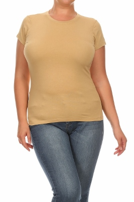 """Hip"" Plus size Women Tees 002-Khaki (12 PC)"