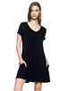 Cap Sleeve Solid Hue Tunic 1001-Black (6 pc)