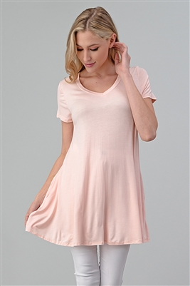 Cap Sleeve Solid Dresses 1001-Blush (6 PC)