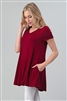 Cap Sleeve Solid Dresses 1001-Burgundy (6 PC)