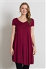 Cap Sleeve Solid Dresses 1002-Burgundy (6 PC)
