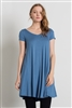 Cap Sleeve Solid Dresses 1002-Denim Blue (6 PC)