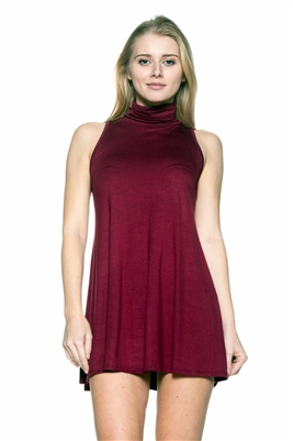Turtle neck Sleeveless Tunic 1007-Burgundy (6 PC)