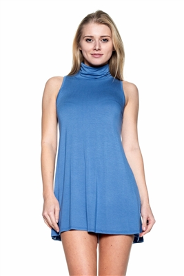 Turtle neck Sleeveless Tunic 1007-Denim (6 PC)