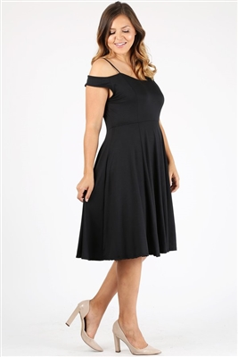 Plus size off the shoulder Dress 1048-X-Black