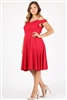 Plus size off the shoulder Dress 1048-X-Crimson