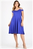 Plus size off the shoulder Dress 1048-X-Royal 6 pc