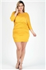 Plus size 3/4 sleeve Solid Dress 1049-X-Mustard 6pc